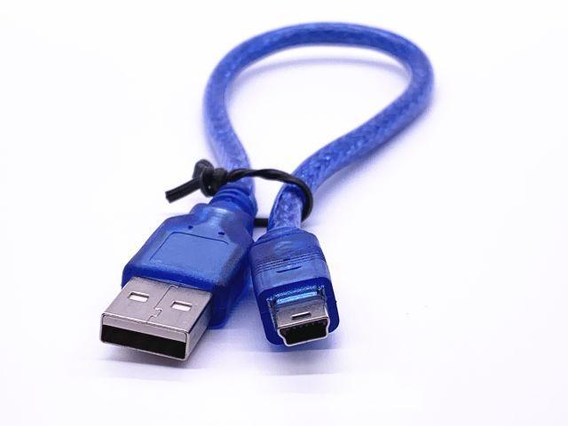 USB-A/USB-Bmini kábel (kék, 30cm)