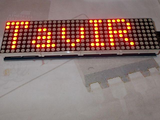 4x összefűzött 8x8 mátrix LED (MAX7219/MAX7221) [piros]
