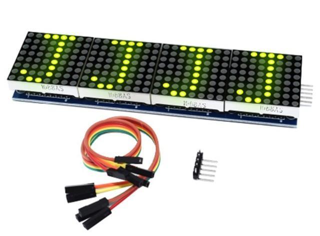4x összefűzött 8x8 mátrix LED (MAX7219/MAX7221) [zöld]