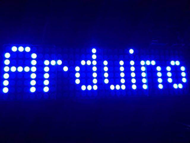 4x összefűzött 8x8 mátrix LED (MAX7219/MAX7221) [kék]