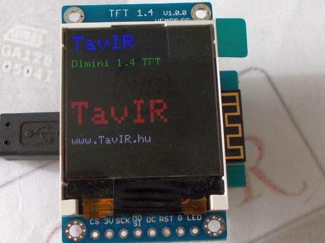 "ESP8266/D1 1.4"" TFT kijelző shield (D1 - TFT shield)"