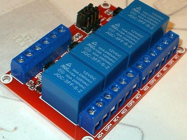 Relé-modul - 4-csatorna, optocsatolt (polarítás állítható; 12V)