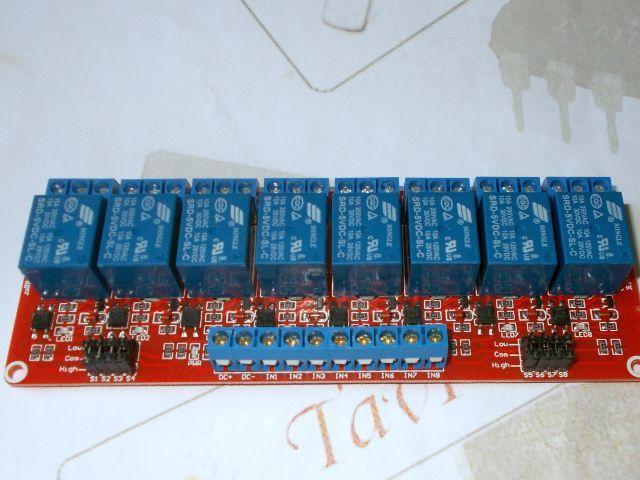 Relé-modul - 8-csatorna, optocsatolt (polarítás állítható)