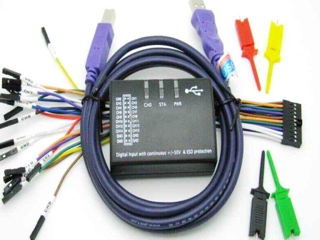 16 csatornás, 100 MHz logikai analizátor (Cypress/Saleae 16)