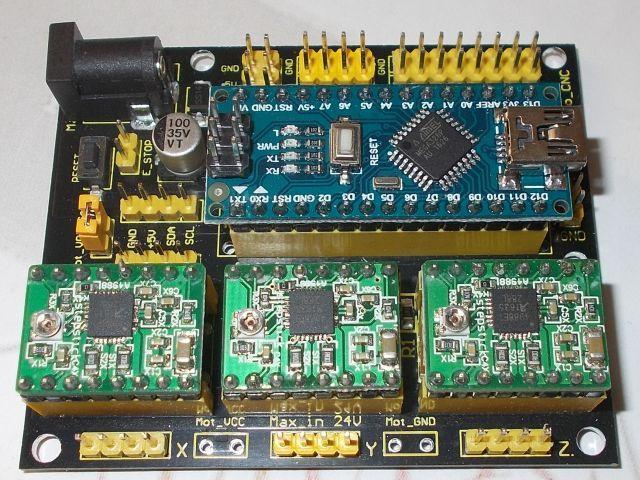 CNC 4.0 (GRBL vezérelt) + 3x motorvezérlő + 1x Nano